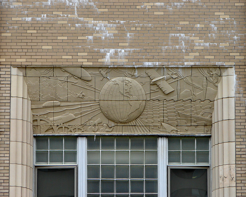 Art deco bas relief, Old Press-Citizen newspaper building, Iowa City, Andrew D. Barron©7/29/08