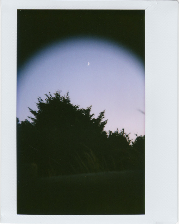 Instax 210 shoots the crescent moon, Andrew D. Barron©8/4/11