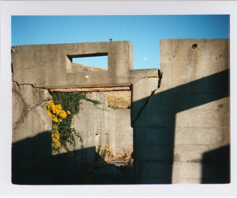 Abandoned WWII lookout and moon, Andrew D. Barron©8/28/11