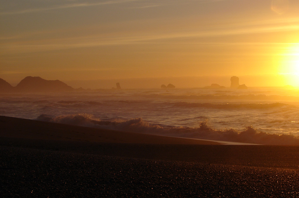 Sunset at Blacklock beach, Port Orford, Andrew D. Barron©2/3/12