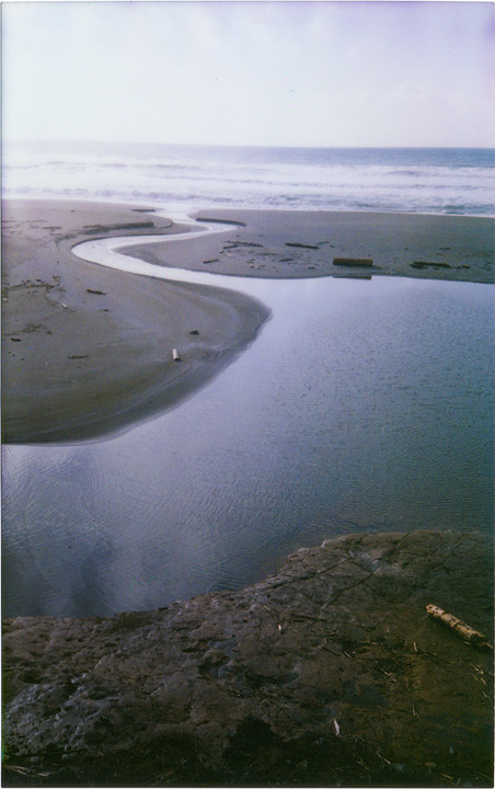 Greggs Creek meets the sea, instax 210, Andrew D. Barron©2/134/12