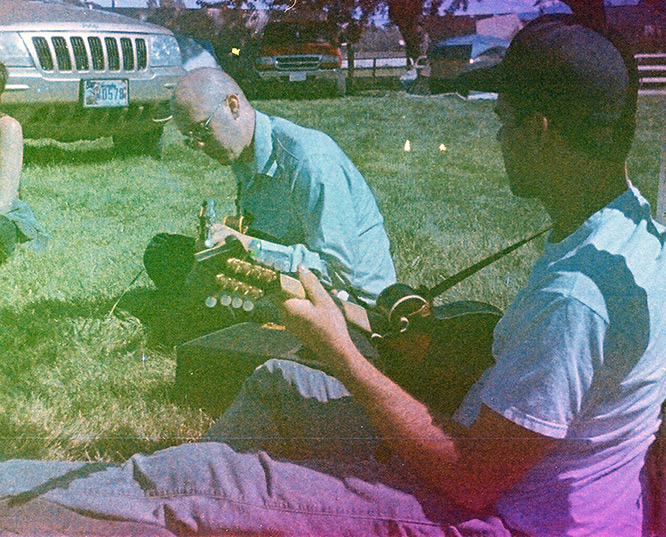 Windy Hill bluegrass band, Susanville, CA, Andrew D. Barron©6/23/12 [found film; Kodak Ektra 2]
