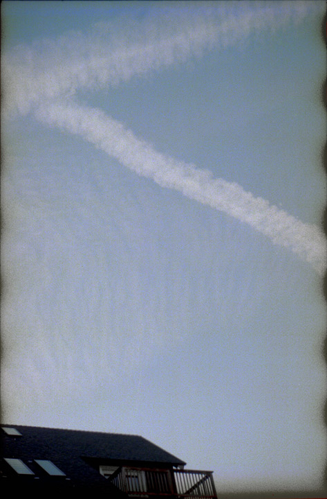 Contrails over the house, Reno NV, Andrew D. Barron©October 2012 [Leica IIIf, Sumitar 50mm ƒ2.0, Portra 400]