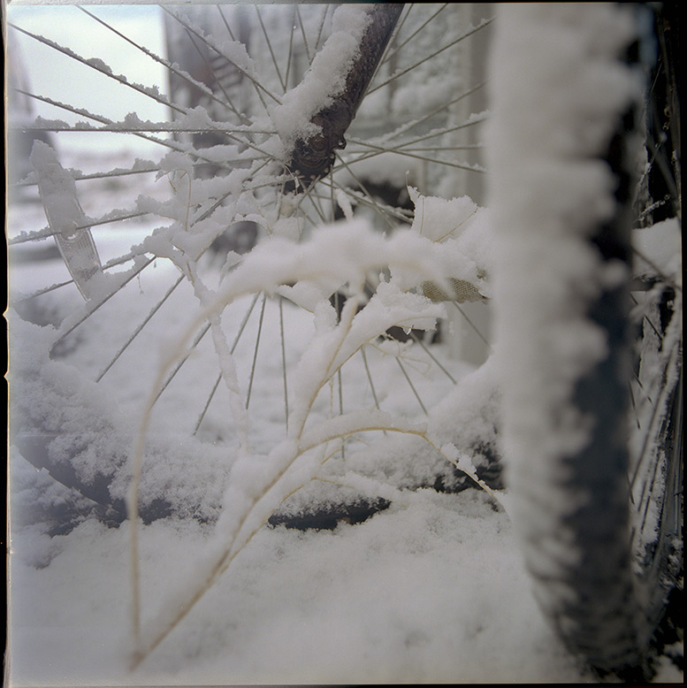 Bikes in the snow, Andrew D. Barron©12/22/12 [Hasselblad 500c/m, 50mm ƒ4, Portra 400]
