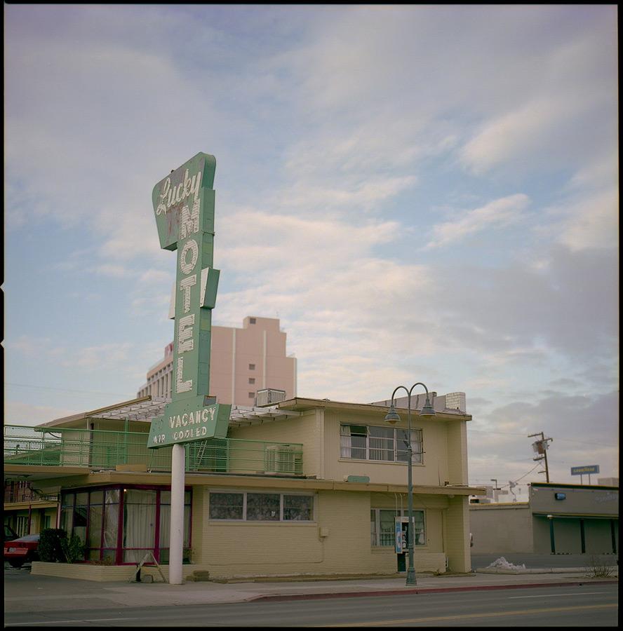 Lucky Motel, Reno, NV, Andrew D. Barron©January 2013 [Hasselblad 500c/m; Planar 80mƒ2.8, Fuji Reala 100 frame 2]