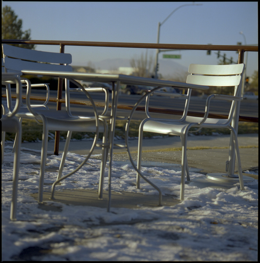 Two empty chairs, south Reno, NV, Andrew D. Barron©1/21/13 [Hasselblad 500c/m; Planar 120mm ƒ5.6, Fuji Reala 100 frame 6]