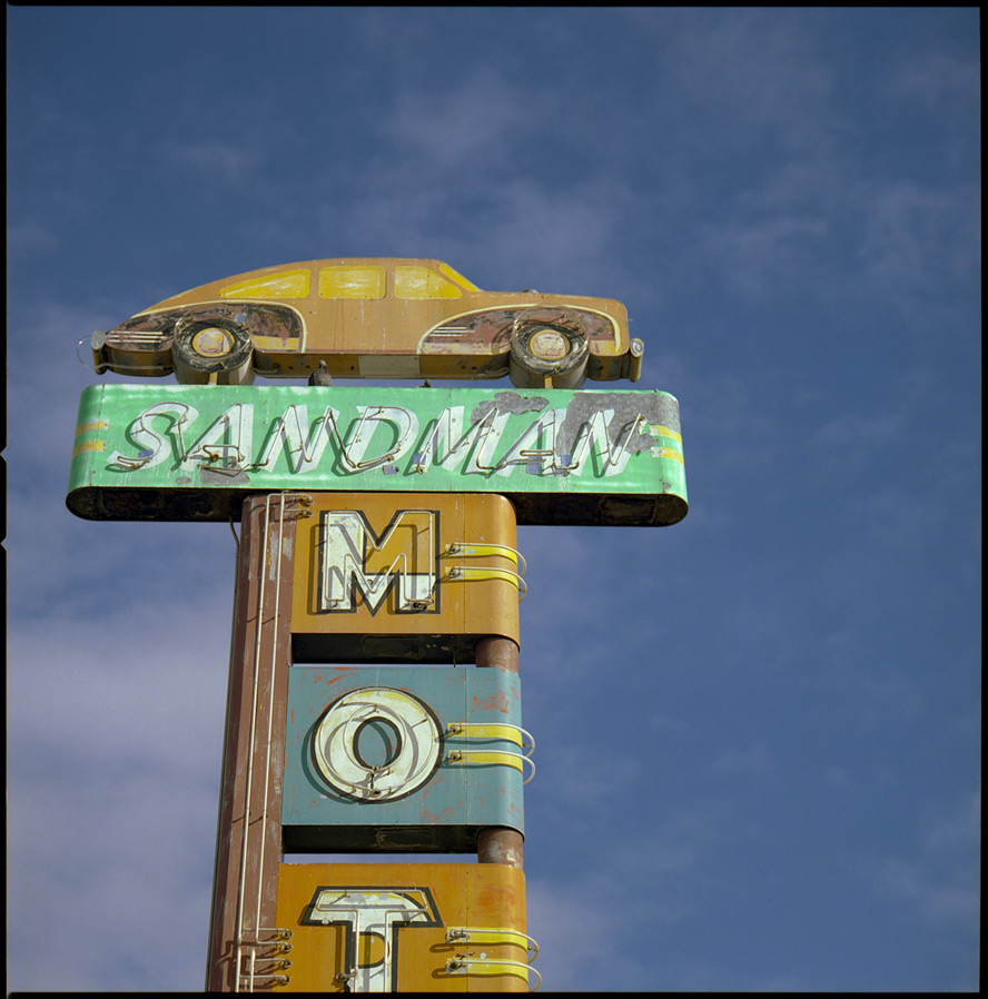 Sandman Motel, 4th street Reno, NV, Andrew D. Barron©1/25/13 [Hasselblad 500c/m; Planar 120mm ƒ5.6, Fuji Reala 100 frame 2]