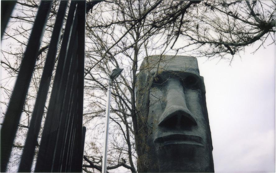 Mini Golf Moai, Reno, NV, Andrew D. Barron©1/25/13 [Fujifilm Instax 210, silver edition]