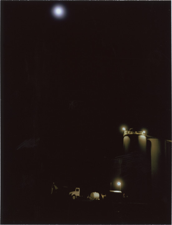 Grain silos in the moonlight, Andrew D. Barron©1/27/13 [Polaroid 450: FP100C]