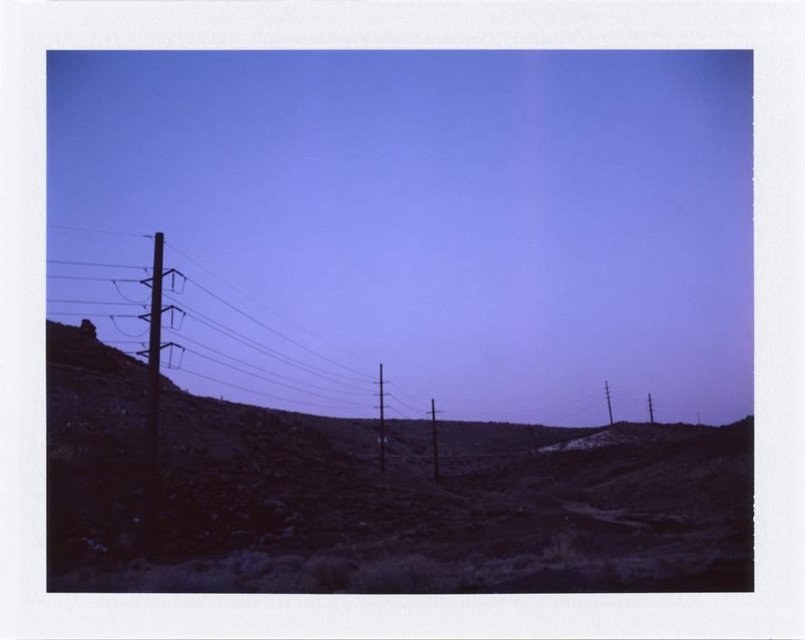 Uphill powerlines, Huffaker Hills, Andrew D. Barron©2/3/13 [Polaroid 450: FP100C]