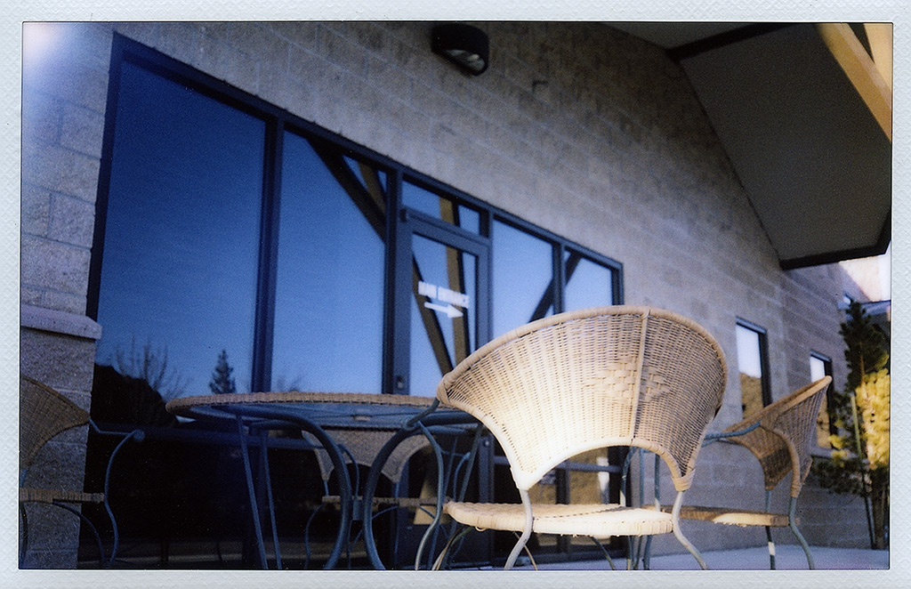 Empty chairs, Reno, NV, Andrew D. Barron©4/9/13 [Fuji Instax 210]