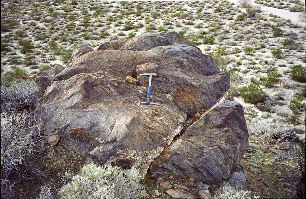 Schists and hammer, Bow Willow, Andrew D. Barron©1/03/95