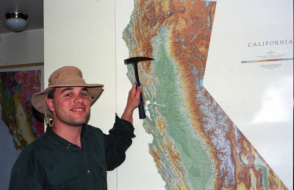 Andrew points to Julian Rocks on the map, Andrew D. Barron©3/1997